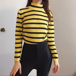 Tommy Hilfiger yellow and black knit sweater